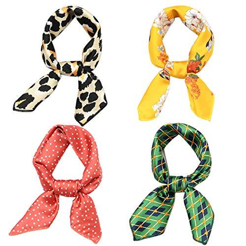 Hixixi 4 PCS 50s Satin Neck Scarf Leopard Dots Floral Striped Small Square Neckerchief Headbands Head Scarf for Women Girl (E#)