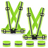 SAWNZC Reflective Vest Night Running Gear 2Pack, Adjustable Safety Vest Outdoor Reflective Belt High Visibility with 4 Reflective Wristbands Straps for Night Cycling Motorcycle Dog Walking Jogging