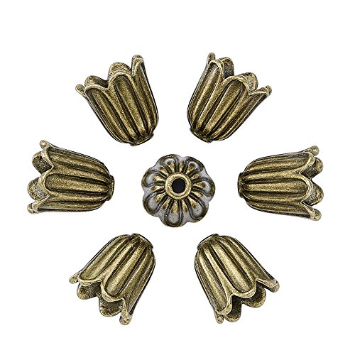 Pandahall 20pcs Tibetan Style Alloy Flower Bead Caps Large Beads Spacers Jewelry Makings 10x10mm Cadmium Free & Lead Free & Nickel Free Antique Bronze