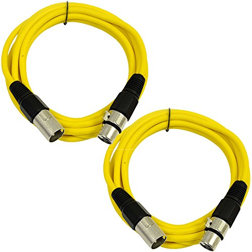 SEISMIC AUDIO - SAXLX-6 - 2 Pack of 6' XLR Male to XLR Female Patch Cables - Balanced - 6 Foot Patch Cord - Yellow and Yellow by Seismic Audio