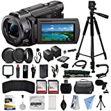 Sony FDR-AX33 4K Ultra HD Handycam Camcorder Video Camera + 128GB Boardcasting Filmmakers Package with LED Night Light + Tripod + Monopod + Action Stabilizer + Handgrip + Microphone + More