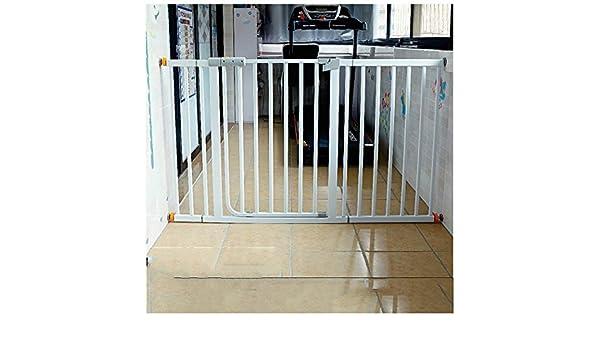 Valla Seguridad Barreras de puerta Telescópica Seguridad Del Bebé Puertas De Cierre Automático De Doble Fijación De La Guía Con La Puerta Barra Recta Perro De Mascota Barandilla Cerca De Aislamiento D: