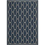 Safavieh Courtyard Collection CY6016-268 Navy and Beige Indoor/Outdoor Area Rug, 4 Feet by 5 Feet 7-Inch