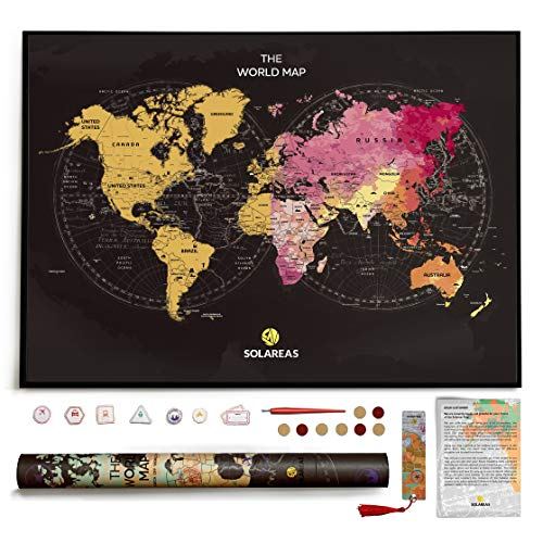 Scratch Off World Map Poster - Travel Gifts for World Travelers - Traveler Room Gifts Decor - Large Scratchable Travel Wall Art 33x23 - Watercolor, Glossy Finish, Memory Stickers, Scratcher. (Best Careers For Travelers)