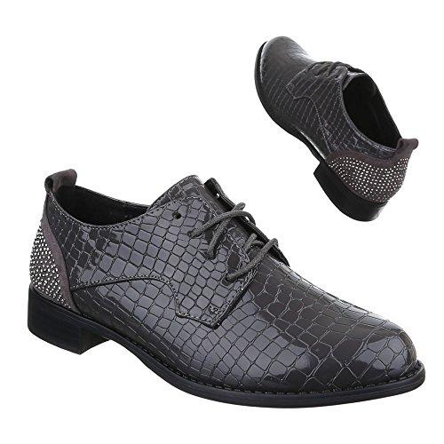 Ital-Design Damen Schuhe, H551, Halbschuhe mit Schnürung Grau