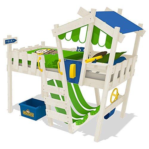 WICKEY Kinderbett CrAzY Hutty Hochbett Abenteuerbett inkl. Lattenboden -Blau-Apfelgrün + weiße Farbe