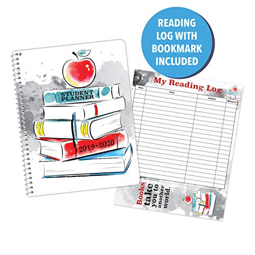 Dated Elementary Student Planner and Free Reading Chart with Bookmark for Academic School Year 2019-2020- Jostens Planner Brand- (8-1/2 x 11)