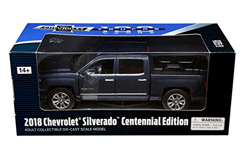 New 1:24 W/B AMERICAN TRUCK COLLECTION - Dark Blue 2018 Chevrolet Silverado LTZ Centennial 100 Years Anniversary Edition Diecast Model Car By MOTOR MAX