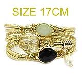 Ty-BLACK Fashion Leather bracelet,Stone,crystal,Bohemian bracelets&banglesjewelry gold 17CM