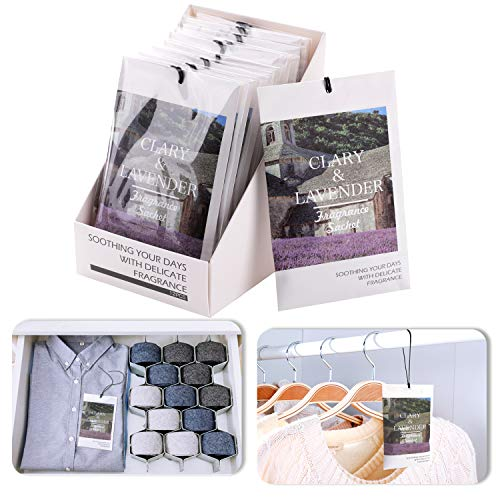 (Rose Cottage 12Packs Lavender Scented Sachets Bags Closet Deodorizer for Drawer and Closet Gift Ideas RCS-1)