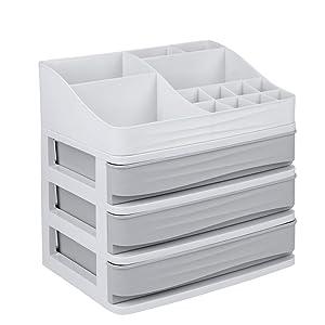 E-Road Cosmetic Makeup Organizer Plastic Storage Box with Drawer Lipsticks Holder Desktop Sundry Storage Case