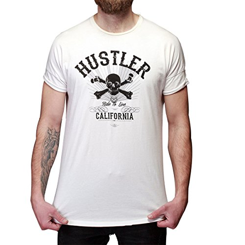 Ride Heavyweight T-shirt - Mens Officially Licensed Hustler HST-580 Ride To Live White T-Shirt - Medium