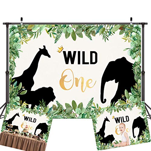 Art Studio The Wild Things One 1st Birthday Party Photography Backdrops Animals Themed Photo Background Jungle Safari Boy Studio Props Banner Decor Vinyl 7x5ft