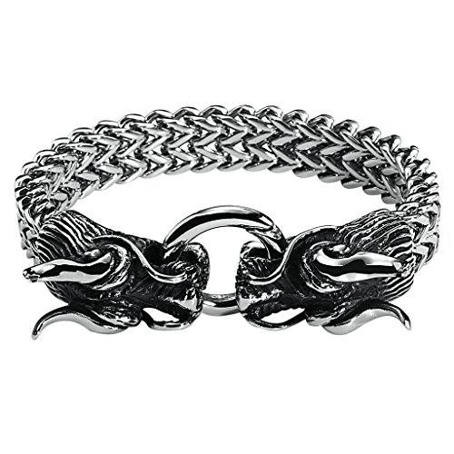 Men's Stainless Steel Bracelet Gothic Double Dragon Heavy Multi-Strand Wheat Chain Silver 20.2CM