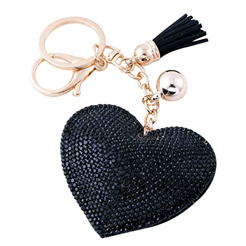 - Soleebee Glitter Love Heart Keychain Premium SS6 Crystal Tassel Key Chain Leather Bag Charm for Women Girls (Black)