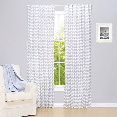 Grey Zig Zag Print Window Drapery Panels - Set of Two 84 by 42 Inch Panels