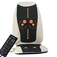 Back and Neck Massager Shiatsu massage Chair Seat Cushion with Heat, Kneading Rolling Vibration for a Full Relaxing Massage on Upper and Lower Back, Perfect Gift Idea for Father's Day,
