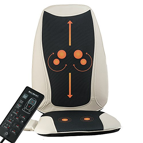 Back and Neck Massager Shiatsu Massage Chair Seat Cushion with Heat, Kneading Rolling Vibration for...