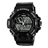 Sayeah Men Sport Digital Watch Waterproof Electronic Military Time Quartz Casual LED Back Light Thin Unique Simple Design Water Resistant Calendar Month Date Day Boys Watch (BLACK)