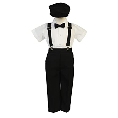 a4cda5824 Amazon.com  Lito Baby Boys Black Suspender Pants Hat Outfit Set 6 ...