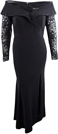 Xscape Womens Lace Sleeves Off-The