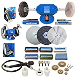 6' Bench Grinder 200W Bench Polisher with 6' Deluxe Metal Polishing Kit Machine