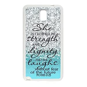 For Case Samsung Galaxy Note 2 N7100 Cover - She Clothed with Strength & Dignity She Laughs without Fear of the Future Proverbs 31:25 - Bible Verse Blue Sparkles Glitter For Case Samsung Galaxy Note 2 N7100 Cover PC (Laser Technology) Case Hard Sides Shell