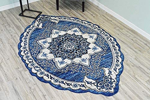 PlanetRugs Inc Twist Free Shape 3D Hand Carved Traditional Floral 5×8 5×7 Oval Rug Oriental 4737 Navy Blue