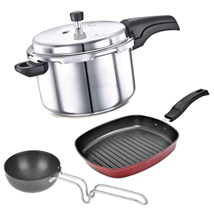 b1a3f8702 Buy BMS Lifestyle Aluminium 3 litres Outer Lid Pressure Cooker with 2-Pcs Non-Stick  Cookware Set Online at Low Prices in India - Amazon.in