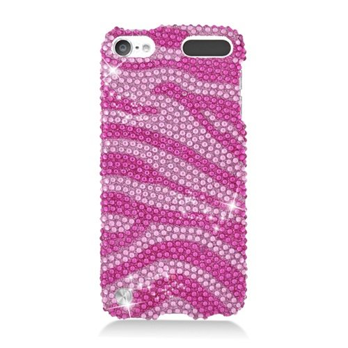 (LF Pink Zebra Rhinestone Hard Case Protector Cover, Lf Stylus Pen and Lf Screen Wiper Bundle Accessory for Apple Ipod Touch 5)