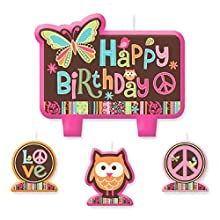 """amscan Party Time Hippie Chick Molded Mini Character Birthday Candle Set, Pack of 4, Pink , 2 3"""" x 2 25"""" Wax"""