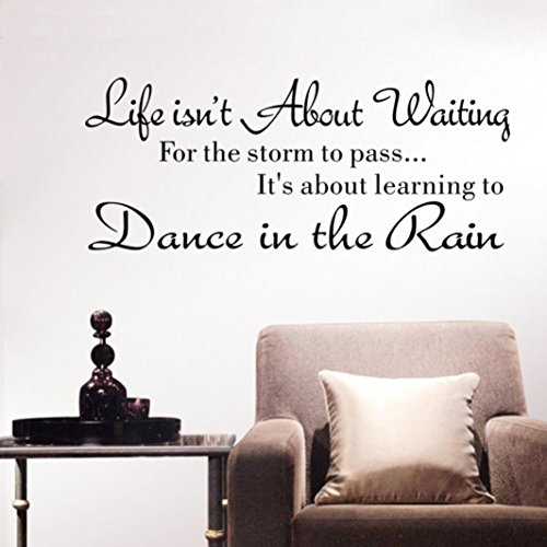 Vacally Wall Decor Stickers Letter Wall Stickers Quote Dancing in rain Wall Decal Words Life Isn't About Waiting Removable Art Vinyl (Western Wall Decor Cheap)