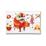 Ministoeb Pillow Case 20''X30'' Chinese Dance Lion Culture Double Printed 100% Cotton Standard Pillowcases Soft Cover For Home Decorative Sleeping