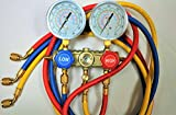 R410a Manifold Gauge Set with 5ft 1/4 Hose for R410a R22 R134a R404a, One Set Does It All HVAC Professional Charging Diagnosis Recovery Service Tool Kit Newer Design