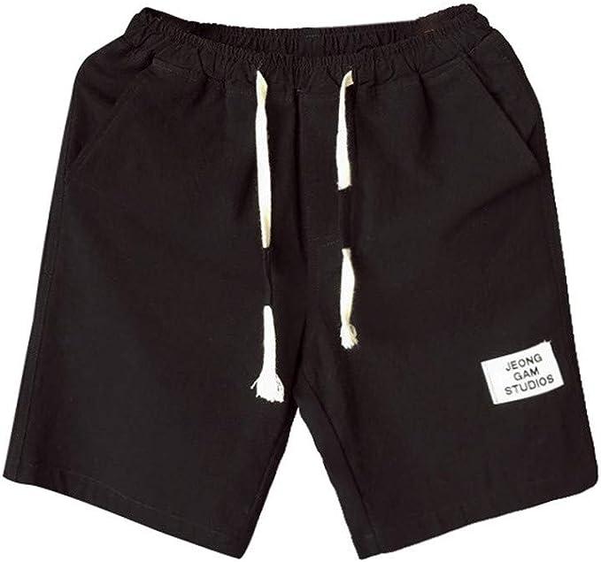 Pantalón Corto Deporte Hombre Lino Talla Grande Pantalones Hombres ...