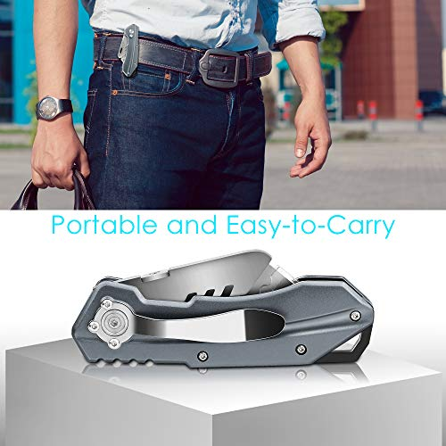 Pocket Utility Knife, MonoTurls Heavy Duty Box Cutter Folding Sharp Knives with Extra 6-Piece Blade, Portable String and Aluminum Body for Cutting Boxes, Cardboard, Wallpaper, Leather Etc Photo #6