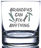 IE Laserware Grandpas Can Fix Anything Laser Etched Engraved Rocks Glass, 12.5 Ounce Old Fashion Glass For Grandpa Gift