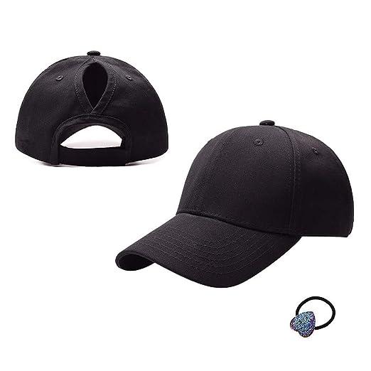 e99f4f20 HADM Cotton Adjustable Baseball Cap High Messy Bun Ponytail Mesh Tracker  Hats for Women Black