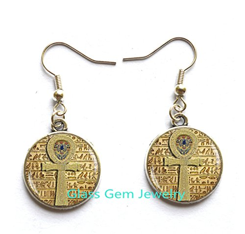 Egyptian ankh cross Earrings , Egyptian Stud Earrings, ancient egypt jewelry, ankh Stud Earrings, Egypt Earrings , Egyptian jewelry,Q0090
