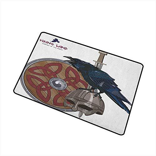 (Wang Hai Chuan Viking Welcome Door mat Raven on Steel Helmet Nordic Sword Shield Warfare Scandinavian Army Medieval Armour Door mat is odorless and Durable W15.7 x L23.6 Inch Black White)