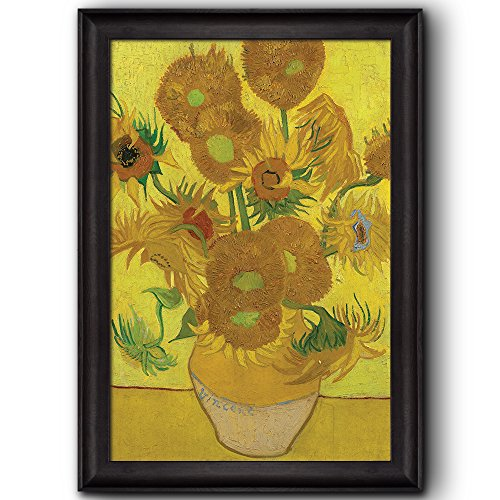 Vase With Fifteen Sunflowers by Vincent Van Gogh Oil Painting Impressionist Artist Framed Art