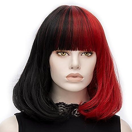 ATAYOU® Mujeres Bob Pelucas Cortas - Moda Medio Negro Y Medio Rojo Pelucas Sintéticas Mujeres