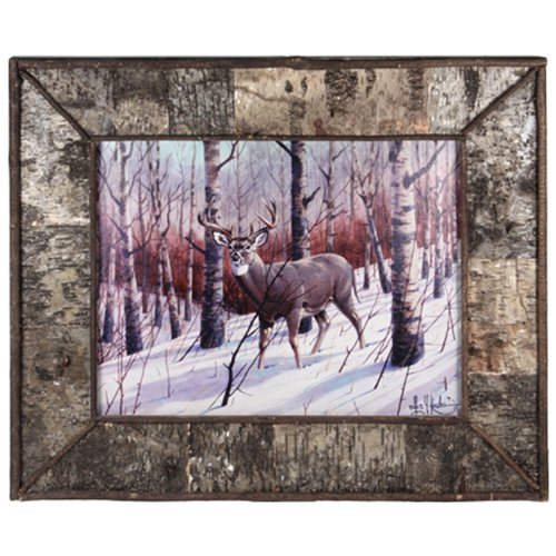 (River's Edge Products Framed Birch Bark Deer Print)