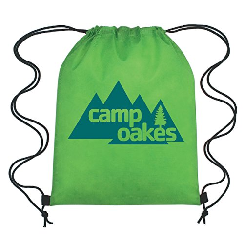 Lime Non-Woven Drawstring Backpacks - 150 Quantity - PROMOTIONAL PRODUCT / BRANDED / BULK / CUSTOMIZED W/ YOUR LOGO - Lime by PrintGlobe (Image #1)