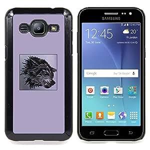 Eason Shop / Premium SLIM PC / Aliminium Casa Carcasa Funda Case Bandera Cover - La ira perro impresiones Lobo Negro - For Samsung Galaxy J2 / J200