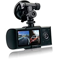 Car Vehicle Camera,Rongyuxuan 2.7 HD 1080P Dual Lens Dash Cam GPS Vehicle Dashboard Camera Synchronous DVR Recorder for Whole Driving Track Recorder(16G TF Card Included)