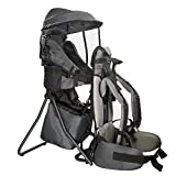 Clevr Cross Country Baby Backpack Carrier with Stand and Sun Visor Shade Child Kid Toddler, Grey, Upgraded Foot Straps | Lightweight - 5lbs Image