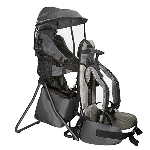Clevr Premium Cross Country Baby Backpack Hiking Child Carrier with Stand and Sun Shade Visor Kid Toddler, Grey Lightweight – 5lbs 1 Year Limited Warranty