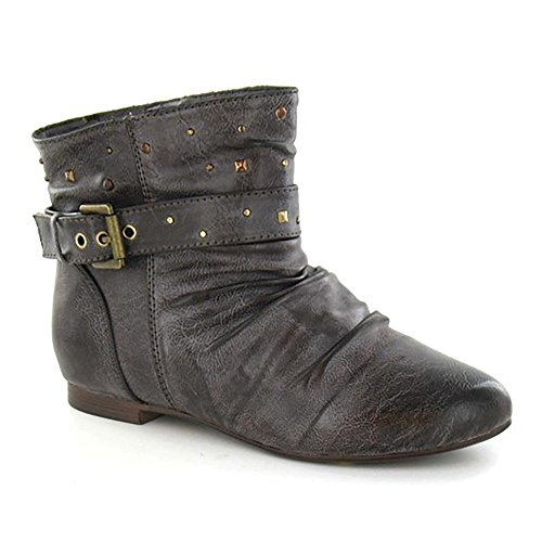 Brown Strap Flat Buckle Girls Boots Cutie Ankle Studded z0fSPxw