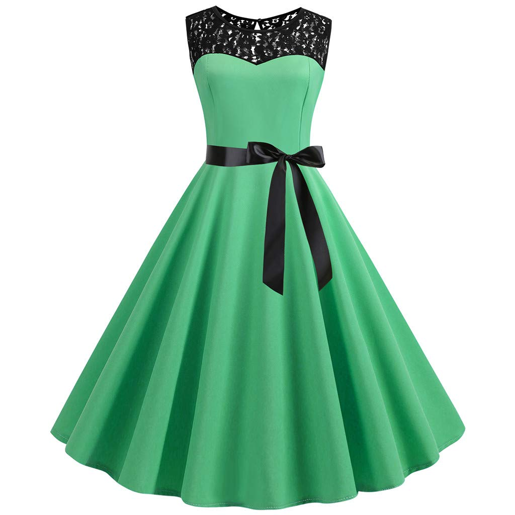 Ballad Women's Dress,Vintage Casual Fashion Party Prom,Sleeveless Solid Color Round Neck Pleated Skirt Army Green